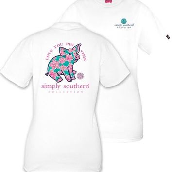 "Simply Southern ""Preppy Pig"" Top- White"