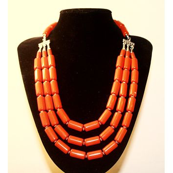 Coral African Beaded Necklace with Earrings