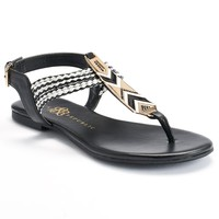 Rock & Republic Women's Braided Thong Sandals (Black)
