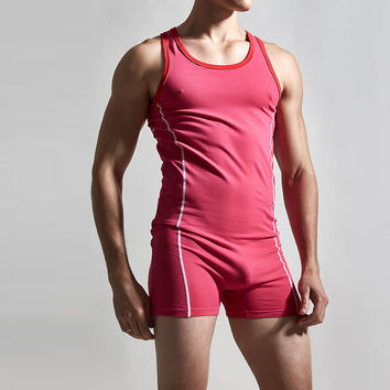 stretch tight men tank tops leotard red sexy wrestling singlets
