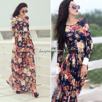Women Ladies Retro Floral Printed Boho Maxi Party Evening Long Sleeve Long Dress