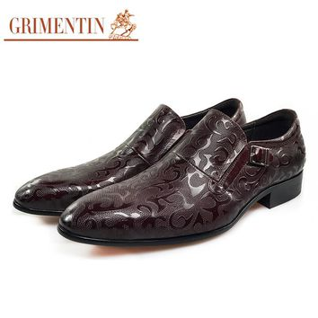 Fashion Men Genuine Leather Shoes Brown Male Dress Shoes