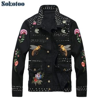 Riveted Floral and Bee Print Embroidered Slim Fit Denim Jacket