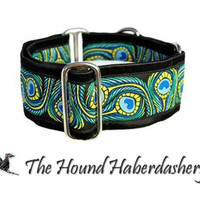 Martingale Collar: Peacock Jacquard (2 Inch), Greyhound Collar, Whippet Collar, Dog Collar, Custom Dog Collars