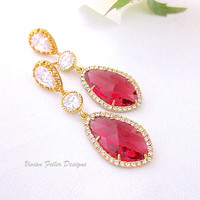 Red Wedding Earrings Gold Jewelry Prom Ruby Mother of the Bride Bridesmaid Gift Valentine Day