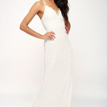 Alice White Lace Backless Maxi Dress