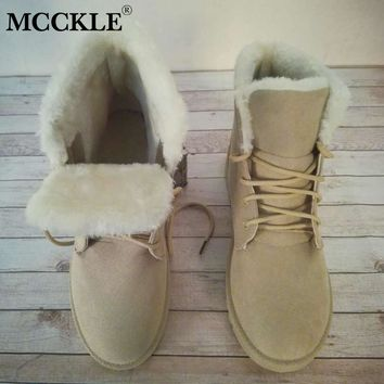 MCCKLE Women Plus Size Casual Warm Fur Plush Snow Boots Female Suede Lace Up Platform Flat Winter Ankle Boots Leisure Shoes