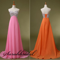 Pink Orange Empire Chiffon Formal Gown Cocktail Party Evening Prom Dress Military Ball Gown {Free Shipping}