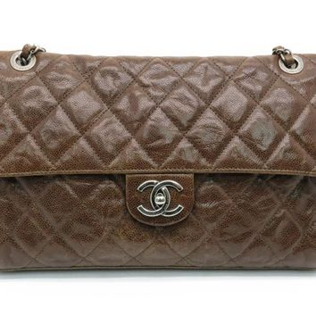 Auth Chanel Chain Shoulder Bag SHW Quilted Calfskin Leather Brown 9236