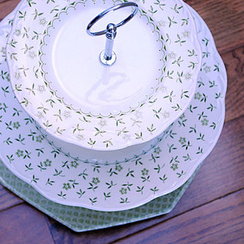 Green Floral 3 Tier Cake Stand and Cupcake Stand