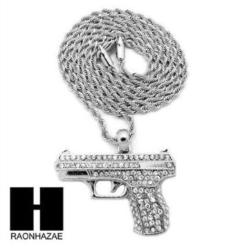 Men's Iced Out White Gold Plated Gun Pendant W 3mm 24' Rope Chain Necklace D32s