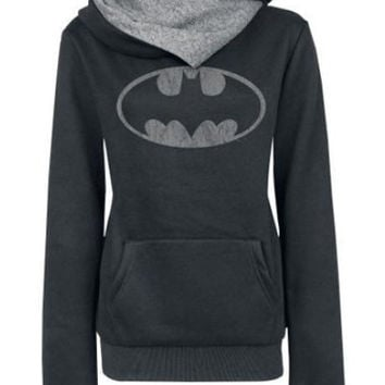Black Cowl Neck Batman Sweatshirt