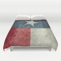 Texas state flag, Vertical retro vintage version  Duvet Cover by Bruce Stanfield