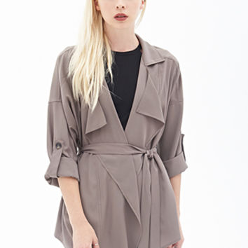 FOREVER 21 Slouchy Belted Trench Coat Taupe