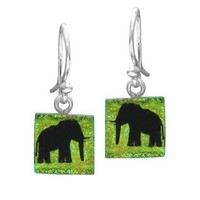 Sterling Silver Dichroic Glass Yellow Elephant Pattern Square-Shaped Earrings