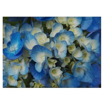 Blue Blossoms Floral Cutting Board