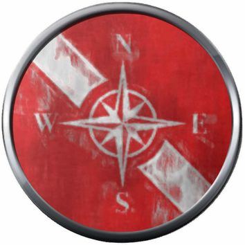 Chalky Art Nautical Compass On Dive Flag Fins Red White Diver Down Flag Scuba 18MM - 20MM Snap Charm New Item