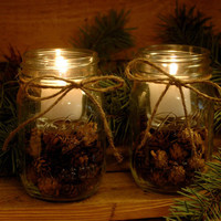 Rustic Pine Cone Candles for your cabin Decor