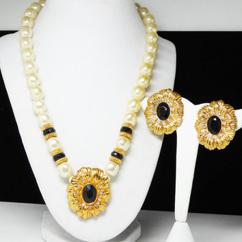 KJL Flower Necklace & Earring Set, Kenneth Jay Lane Demi Parure, Pearlescent White Beads, Goldtone Flowers Black Faceted Crystal Rhinestones