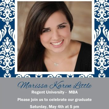Damask Photo Graduation Party Invitations