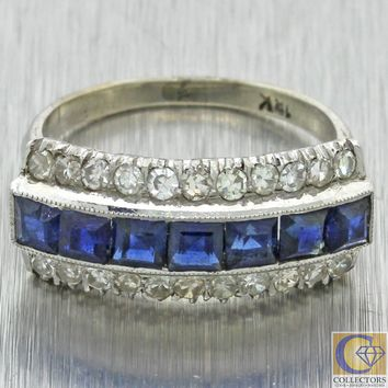 1930s Antique Art Deco 18k White Gold Diamond Sapphire Wedding Band Ring
