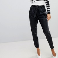 Vero Moda Paperbag Waist Leather Look Trouser at asos.com