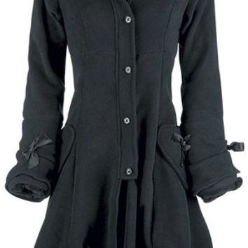 Poizen Industries Emo Gothic Punk Alice Coat Ladies Black Ladies Bow Zip Button