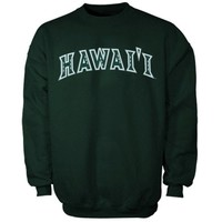 Hawaii Warriors Bold Arch Crew Sweatshirt - Green