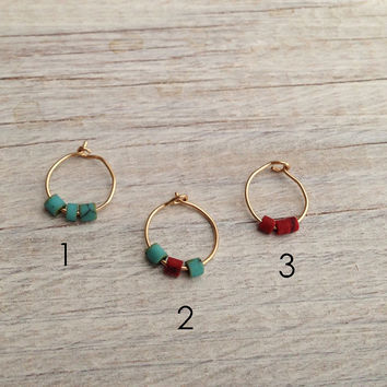 Choose your hoop, Tiny Gold Hoop earrings, Thin silver turquoise Hoop Earrings, silver hoop, carriage hoop, nose ring, helix hoop earring
