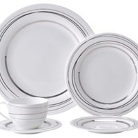 5-Piece Silver Spheres Place Setting, Flatware Place Settings