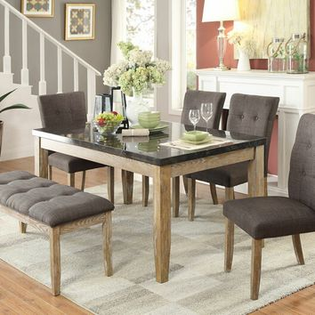 Home Elegance 5285-64-6PC 6 pc huron collection light oak weathered finish wood and faux marble top dining table set with upholstered seats