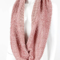Pink Knitted Infinity Scarf
