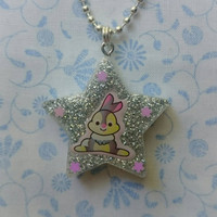 Silver Sparkling Kawaii Bunny Rabbit Set in a Star Shaped Resin Pendant Necklace