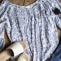 Wild And Free Off The Shoulder Top, Blue Multi