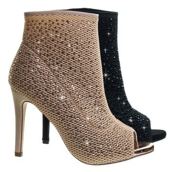 Varner Rhinestone Encrusted Stretchy Peep Toe Ankle bootie On High Heel