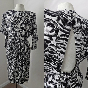 Vintage 80s Open Back Silk Dress // Black and White // Bat Wing Sleeves // Shoulder Pads // Small Medium
