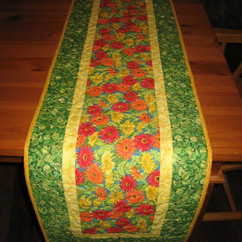 Quilted Table Runner Red, Orange and Yellow Flowers on Blue