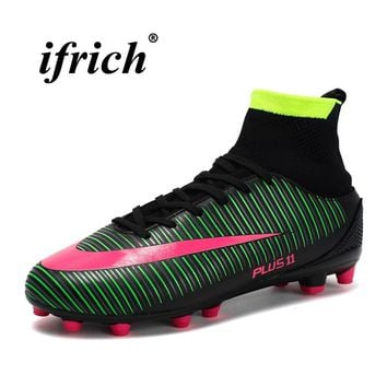 Man Shoes for Football Boots Black Blue Mens Cleats Male Man Soccer Shoes With Sock Spring Autumn High Top Trainning Boots Male