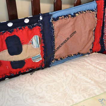 Crib Bumpers, Airplane Applique, Rag Quilt Style, Baby Boy, Made to Order