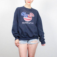 Vintage 90s Sweatshirt 1990s Disney World Mickey Mouse Red White Blue Stars Stripes American Flag Sweater Jumper Pullover XL Extra Large