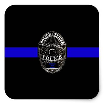 SUPPORT POLICE THIN BLUE LINE GLOSSY STICKER