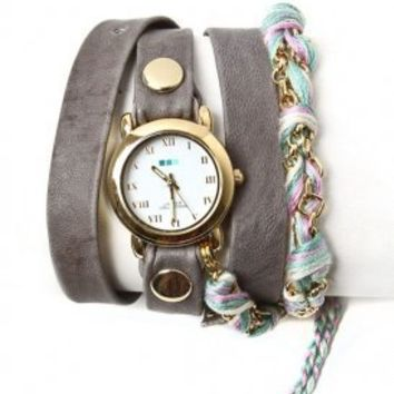 la mer - women's pastel friendship bracelet watch (grey/gold) - La Mer | 80's Purple