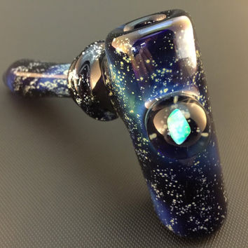 Large Cobalt Glass Silver Fumed Starry Night Tobacco Space Hammer Pipe with Encased Large Fire Opal