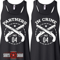 Best Friends Shirt Tanks - Tank Tops Partners In Crime Gun Personalized Year Women's Shirts Racerback
