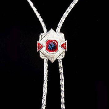 "Bolo Tie Pendant  White Leather Cord Red White Blue Signed S.S.J. Rhinestones 20"" Vintage"