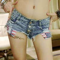 Summer Denim Mini Club Women's Fashion Sexy Shorts [6034374337]