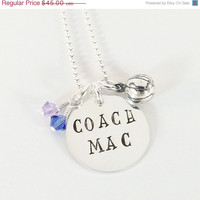 On Sale Hand Stamped Sterling Silver Basketball Coach Necklace with Sterling Silver Basketball Charm and Swarovski Crystal Dangles in School