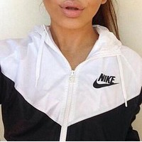 Nike Fashion Women Men Long Sleeve Hooded Zipper Cardigan Print Sweatshirt Jacket Coat Windbreaker Sportswear I
