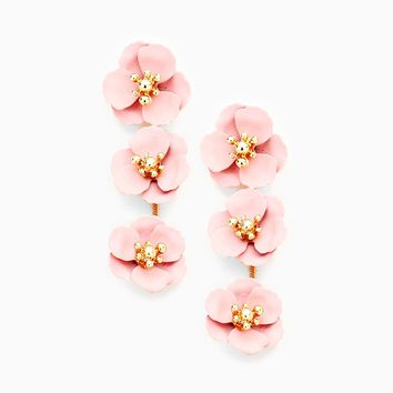 Triple Blooms Earrings - pink
