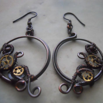 Wire-Wrapped Steampunk Hoop Earrings with Detatchable Ear Cuffs